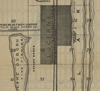 Map of the town site of Lucerne (later Lake Worth), ca. 1912