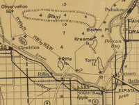 A 1935 map showing the islands of Torry, Kreamer, and Ritta.