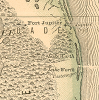 An 1881 map showing the approximate location of the Tustenegee Post Office.