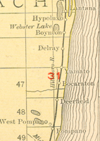 A 1911 map showing the location of Yamato along the Florida East Coast Railroad line.