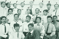 Japanese settlers of the Yamato Colony with colony founder Jo Sakai (front center), 1905.