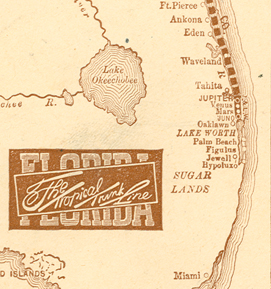 An 1890 map showing the communities on Lake Worth
