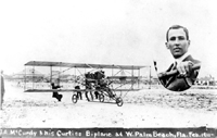 J.A. McCurdy and his Curtiss Biplane