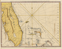 The Peninsula and Gulf of Florida or Channel of Bahama with Bahama Islands