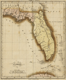 Historique de la Floride (Geographical, Statistical, and Historical Map of Florida), Paris, France issue