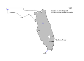 1821 - Palm Beach County is part of St. Johns County