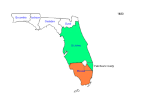 1823 Sections of Palm Beach County are part of St. Johns and Monroe counties