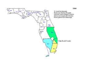 1844 Sections of Palm Beach County are part of Dade, St. Lucie, and Monroe counties