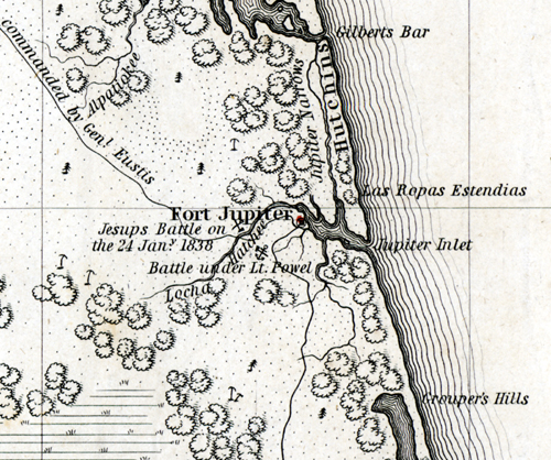 Map Jupiter Florida.The Seminole War In Palm Beach County