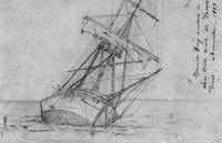 A drawing of a beached Spanish Brig in 1883