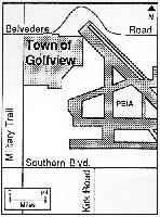 A map showing the Town of Golfview and Palm Beach International Airport